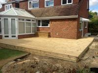Decking area with path & storage seat